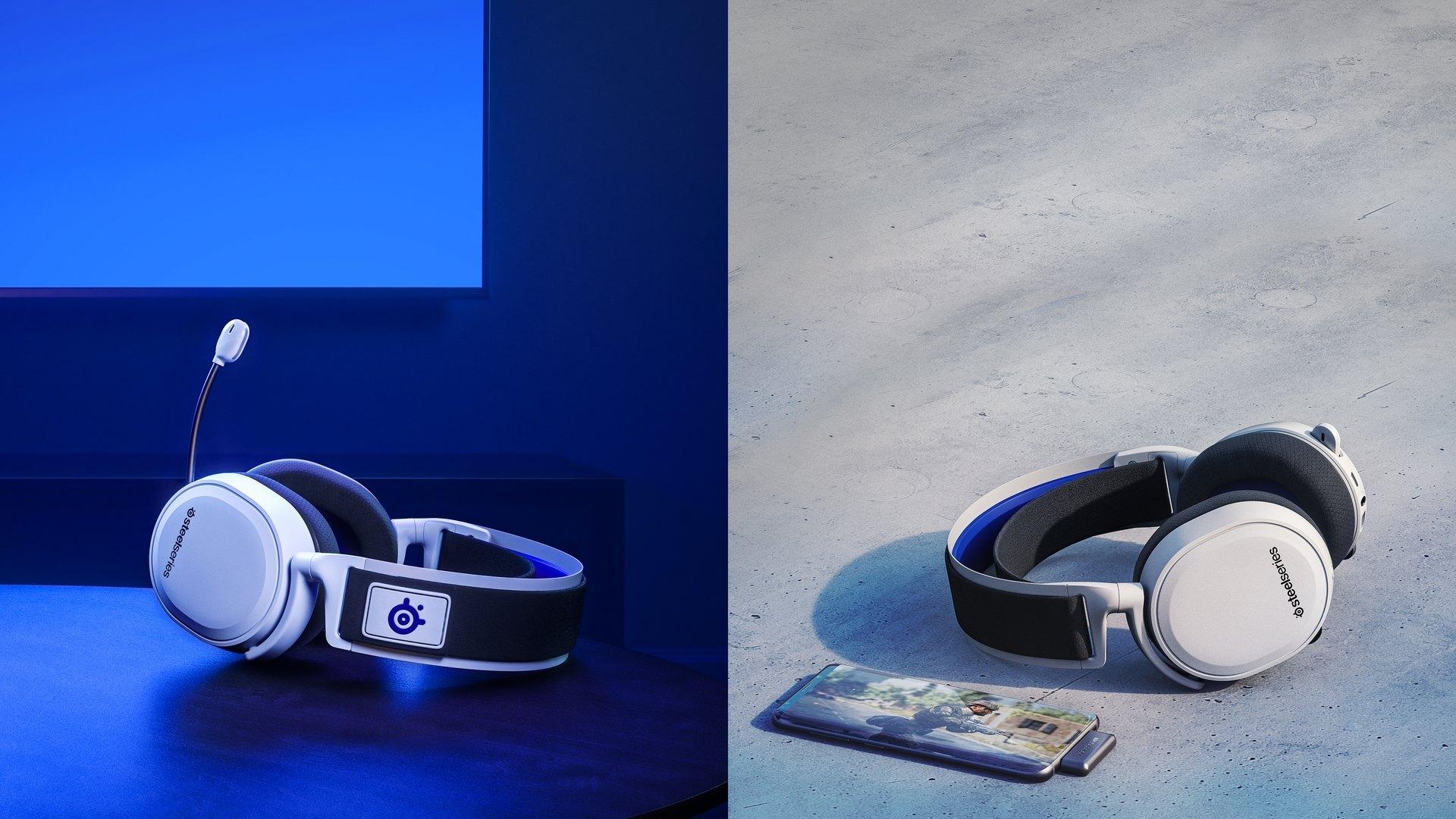 arctis 7P 耳機的雙圖片,呈現出無論耳機在何處都可以是無線的。