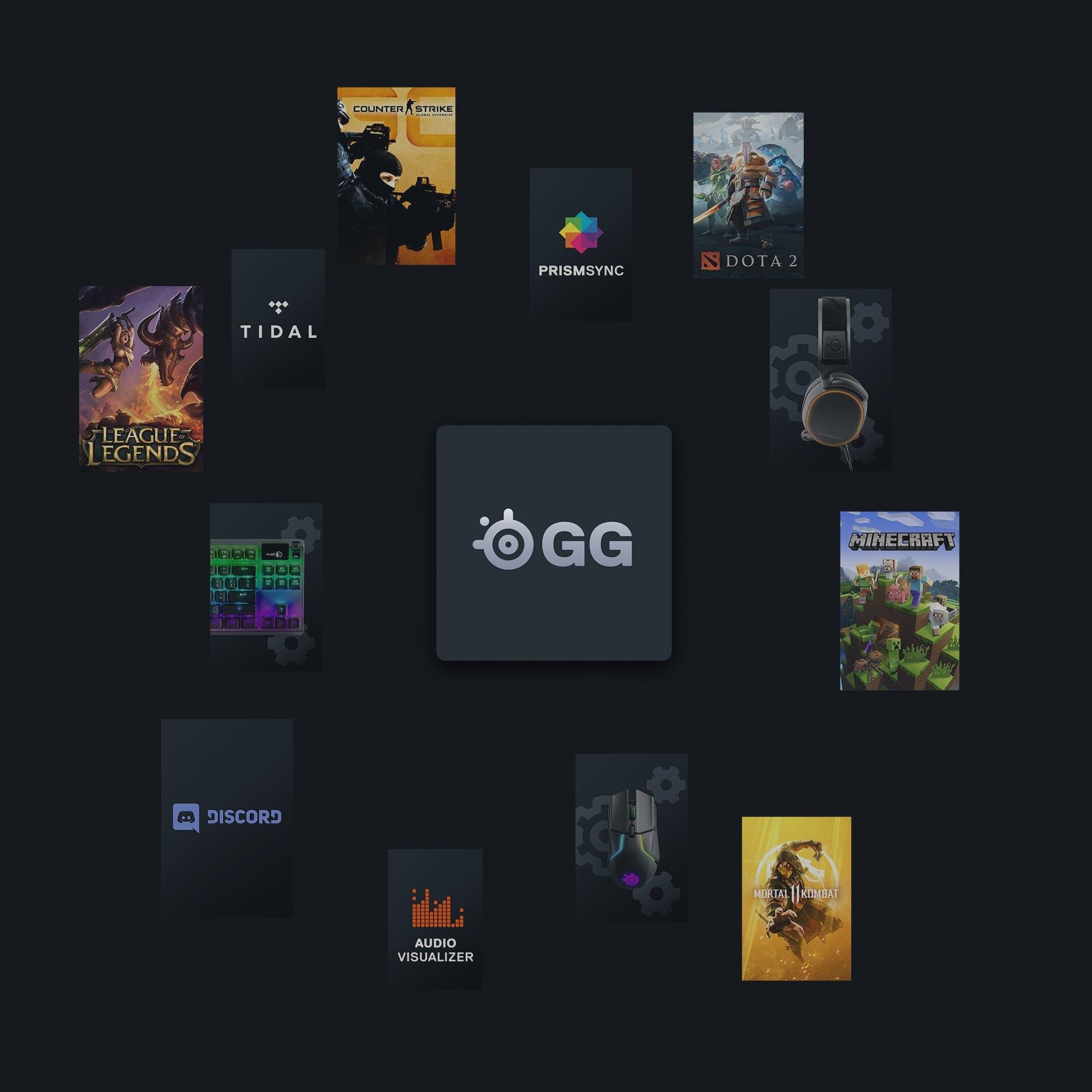 SteelSeries GG 測試版;《英雄聯盟》、《絕對武力:全球攻勢》、《國王遊戲》、PRISMSYNC、《魔獸爭霸》2、《當個創世神》、《真人快打》11、音訊顯示器、Discord