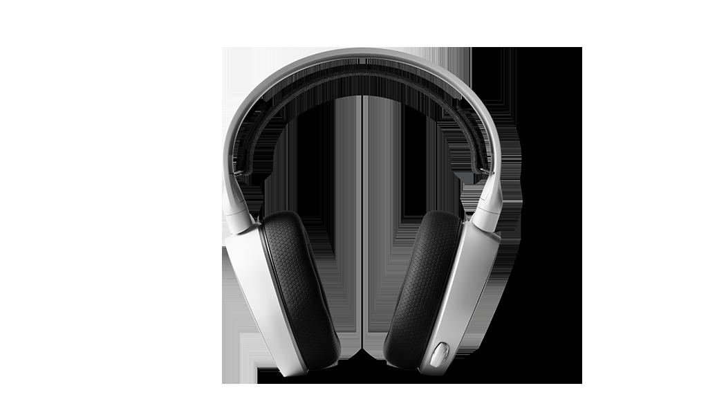 白色 Arctis 3 耳機筆直向前視圖,連接的麥克風在收起位置