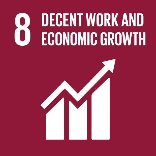 聯合國可持續發展目標圖示,顯示增長圖和「有尊嚴的工作和經濟增長」字樣。