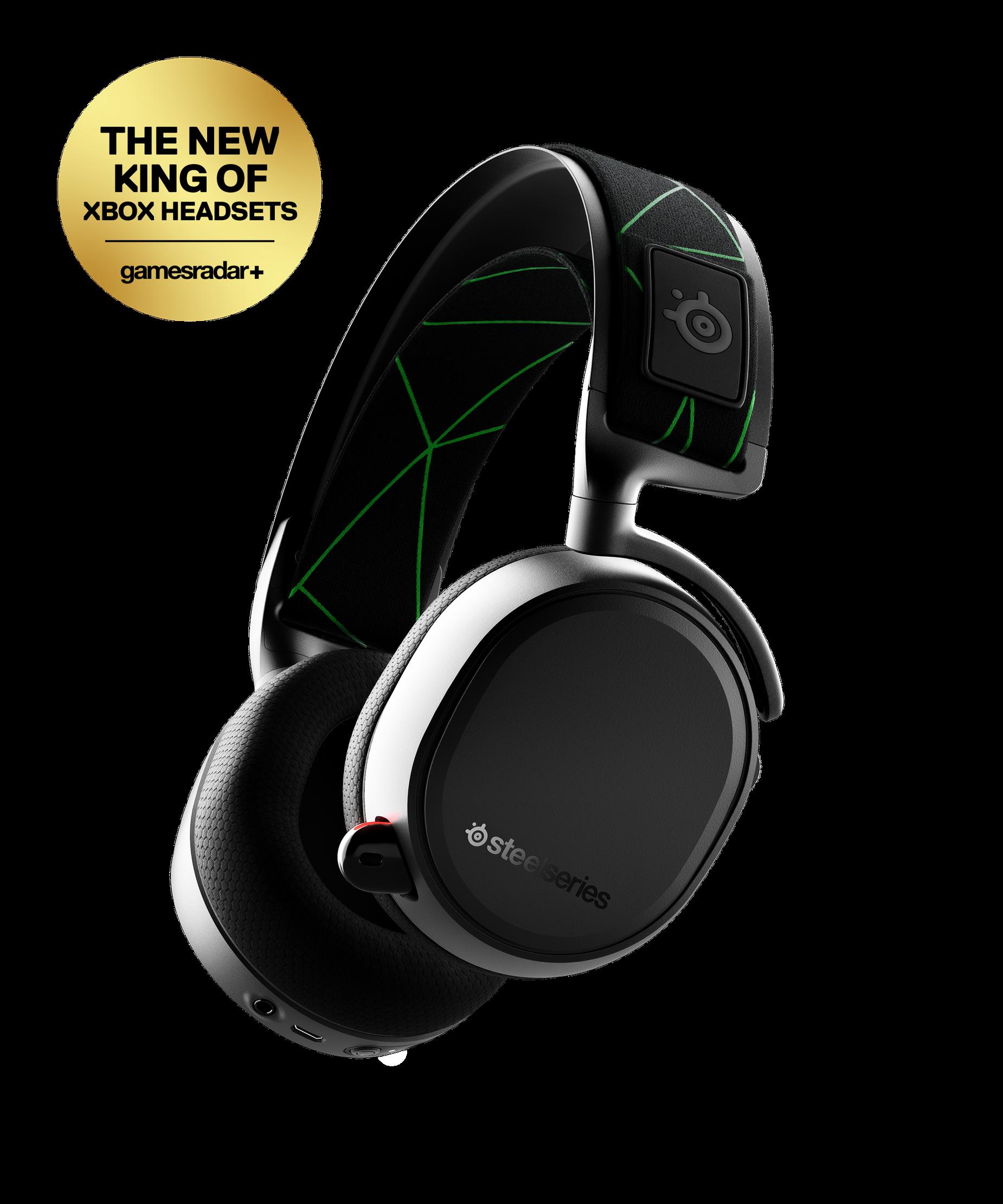 Arctis 9X 輪廓角度檢視圖,獲得 Xbox Headsets gamesradar+ 標章