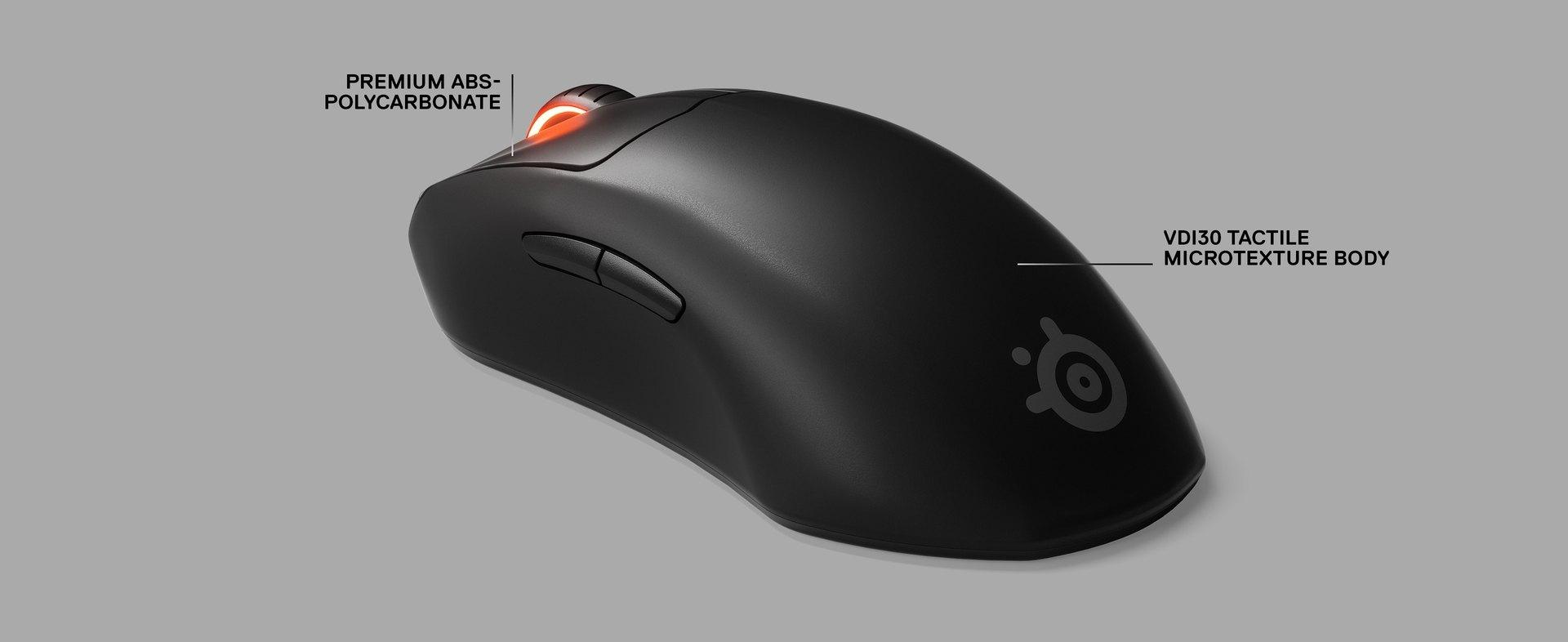 滑鼠特寫與兩個標籤,各為靠近按鍵處「優質 ABS-聚碳酸酯」,以及靠近掌托處的「VDI30 觸覺粗質紋理本體」。