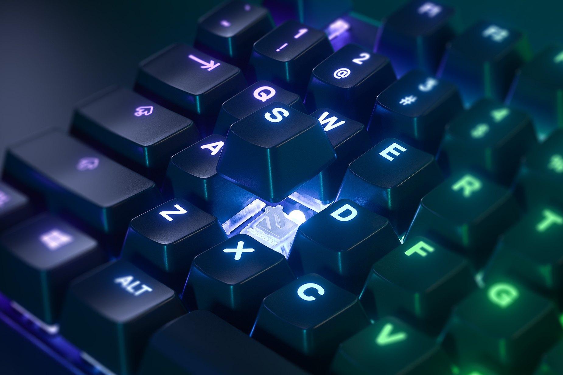 放大德文版上的單一按鍵檢視圖-Apex PRO TKL懸浮按鍵特殊款遊戲鍵盤可顯示下方的 SteelSeries OmniPoint 萬能可調機械按鍵