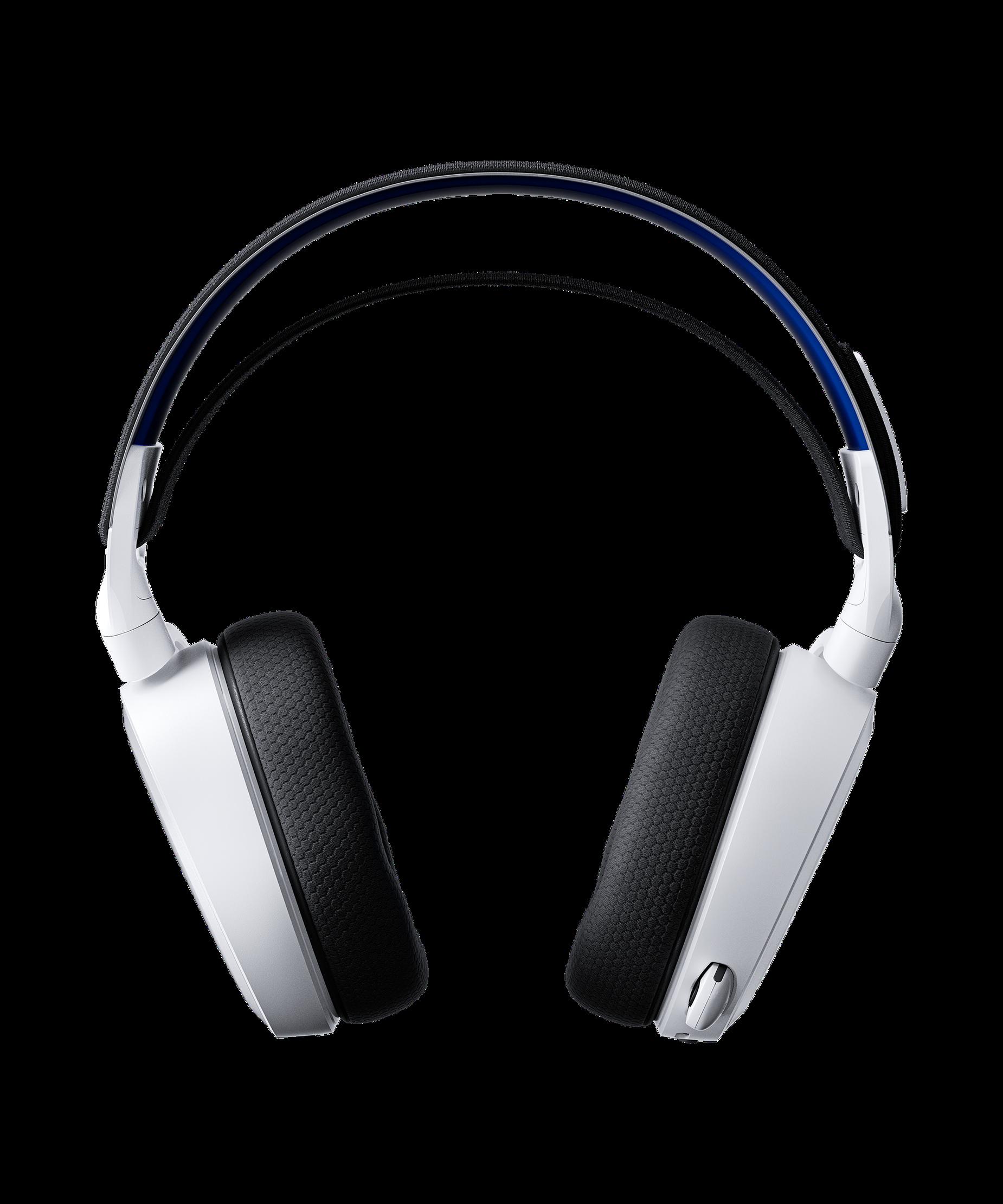 Arctis 7P耳機正面並呈現出交叉區域