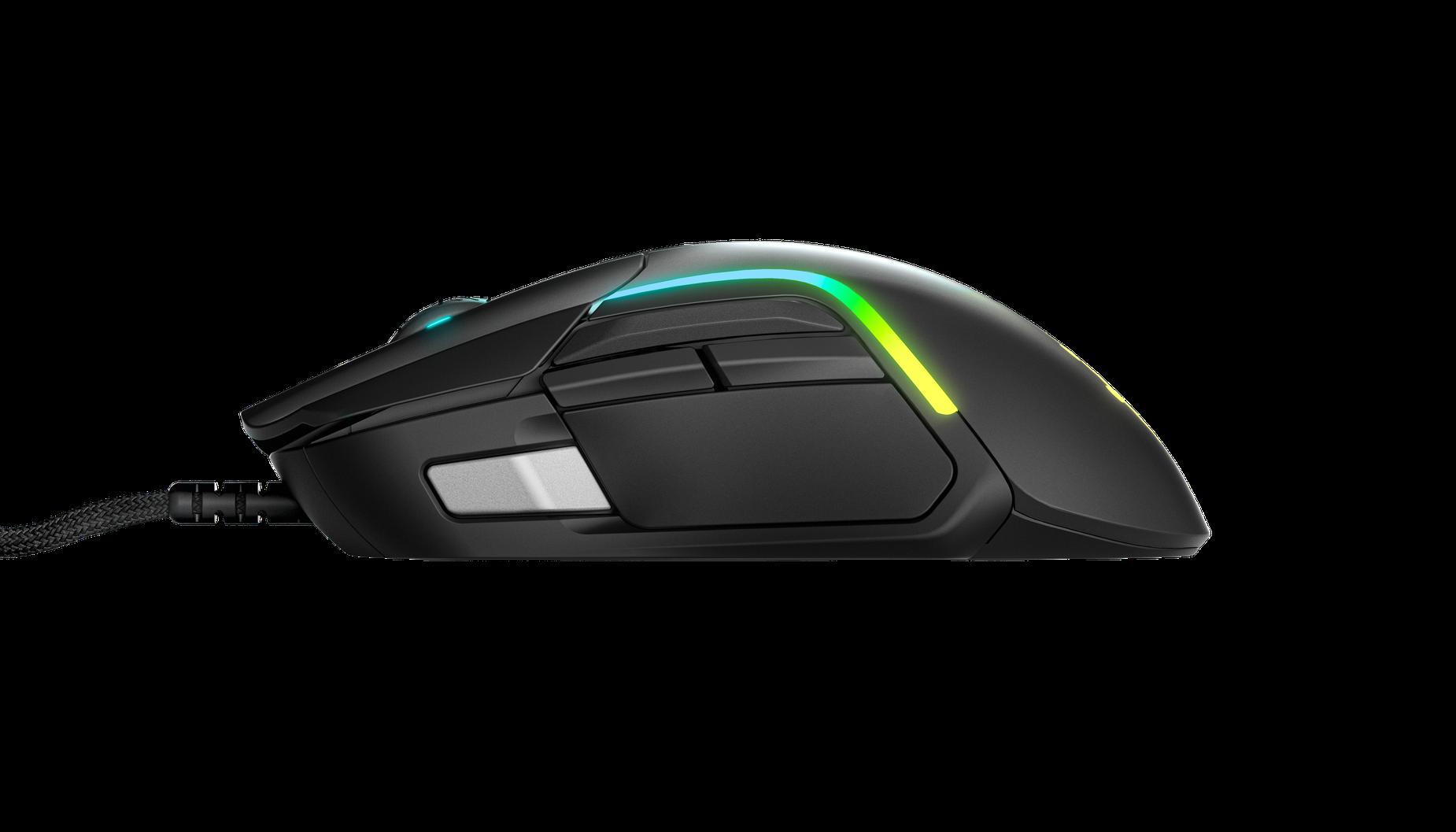 側向展示 Rival 5 遊戲滑鼠以檢視側邊快速動作按鈕。
