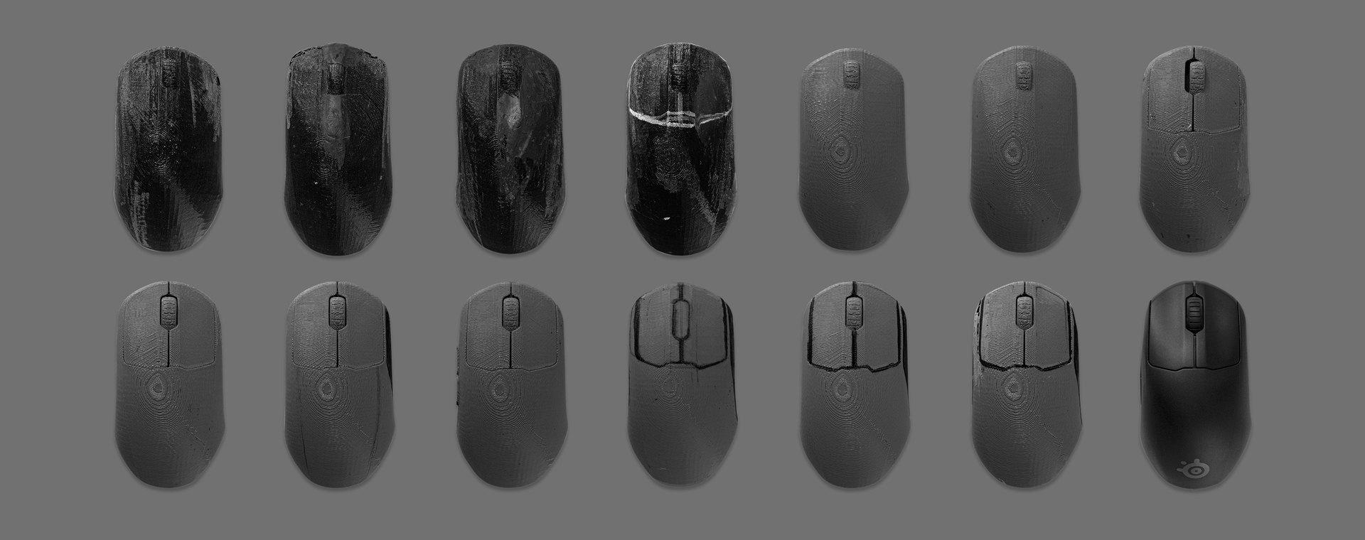 兩行滑鼠,展示出根據回饋與測試而設計的滑鼠演進過程。