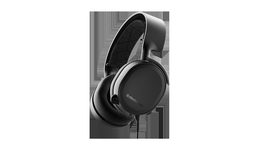 ARCTIS 3 - 黑色遊戲耳機任一角度輪廓,連接的耳機在收起位置