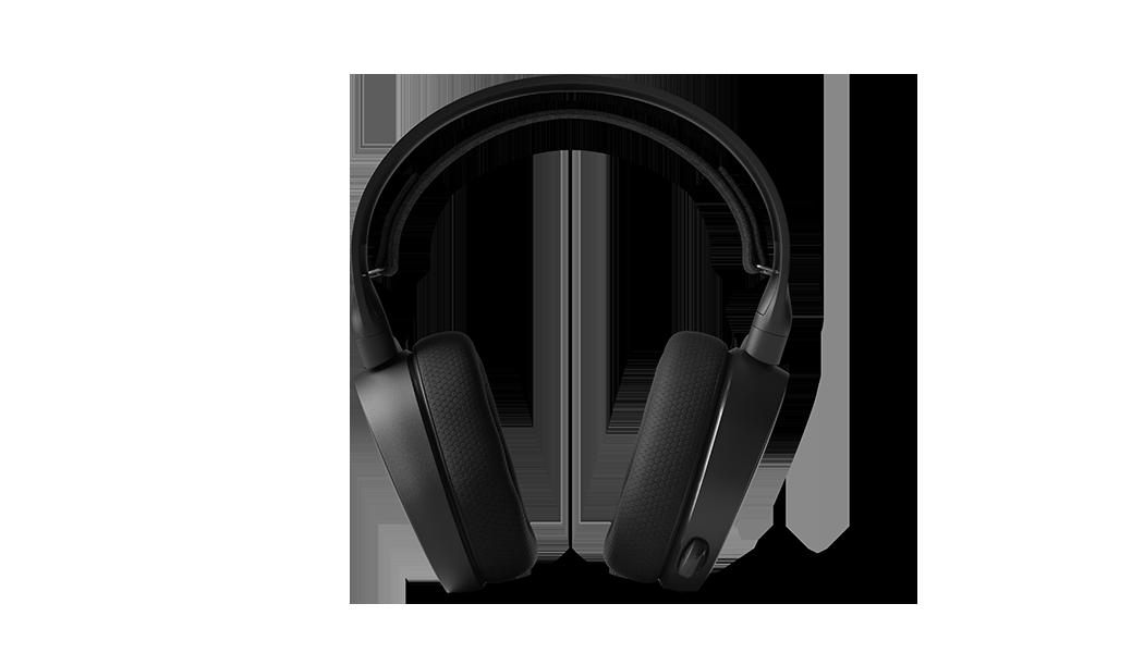 ARCTIS 3 - 黑色遊戲耳機筆直向前視圖,連接的麥克風在收起位置