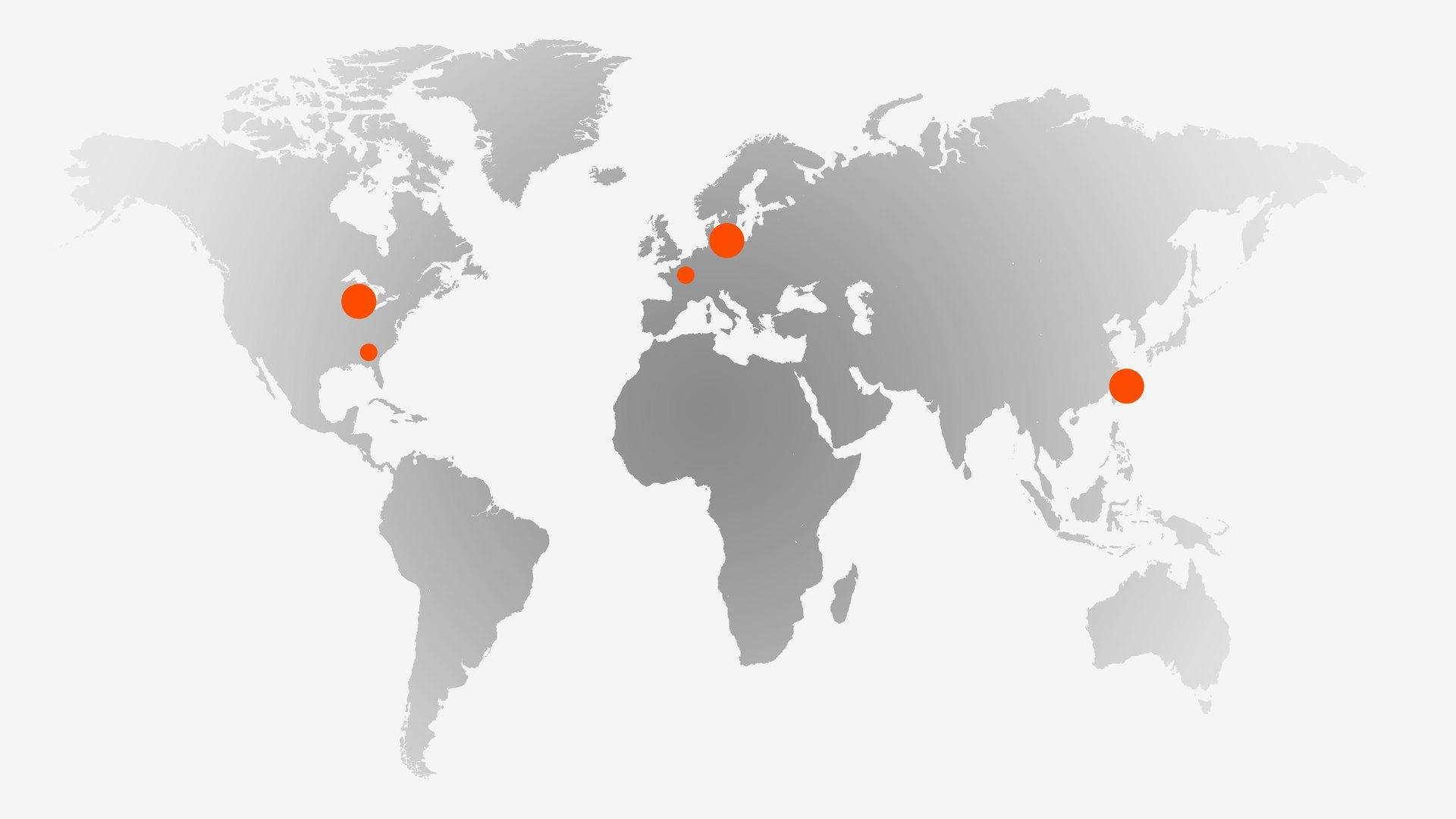 世界地圖,各點代表 SteelSeries 設有辦公室的城市