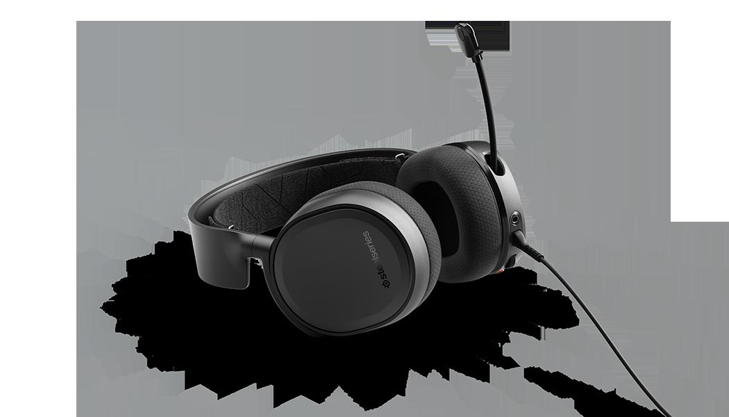 ARCTIS 3 - 黑遊戲耳機平放並麥克風打開的視圖