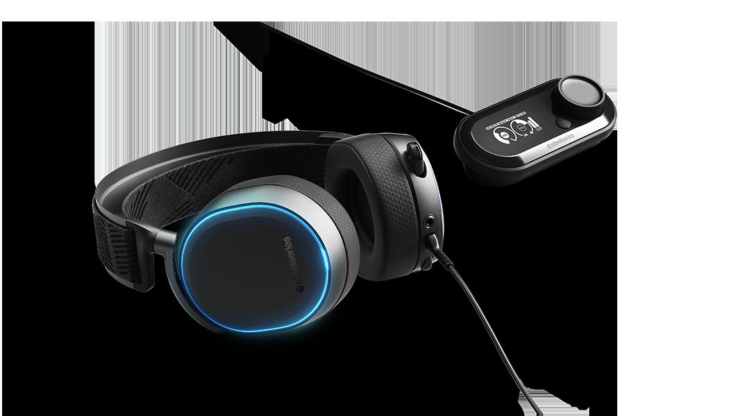 Arctis Pro 和 GameDac (RGB 燈光功能設計) 平放顯示圖
