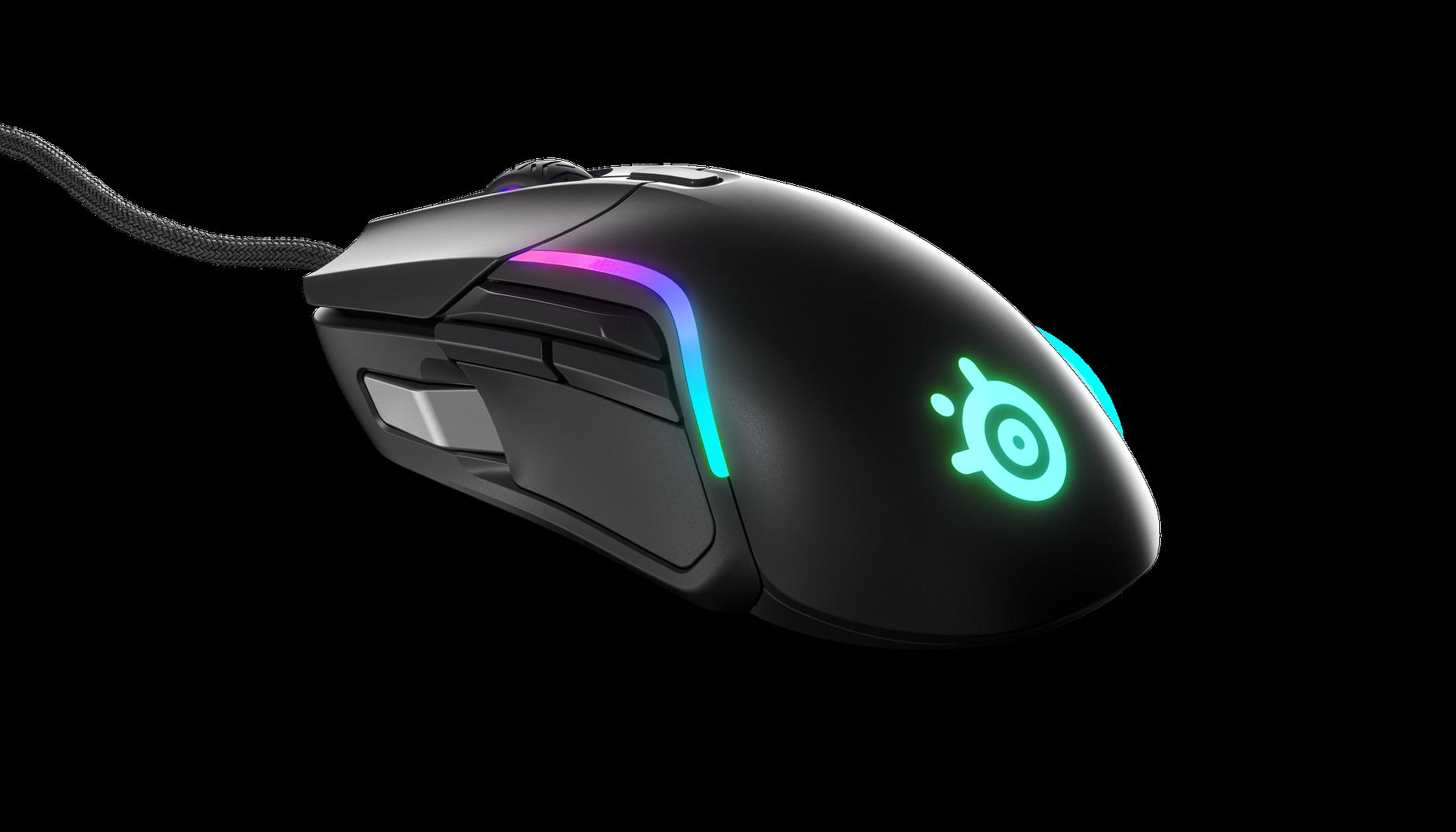 Rival 5 遊戲滑鼠顯示 RBG 燈效的功能與位置。