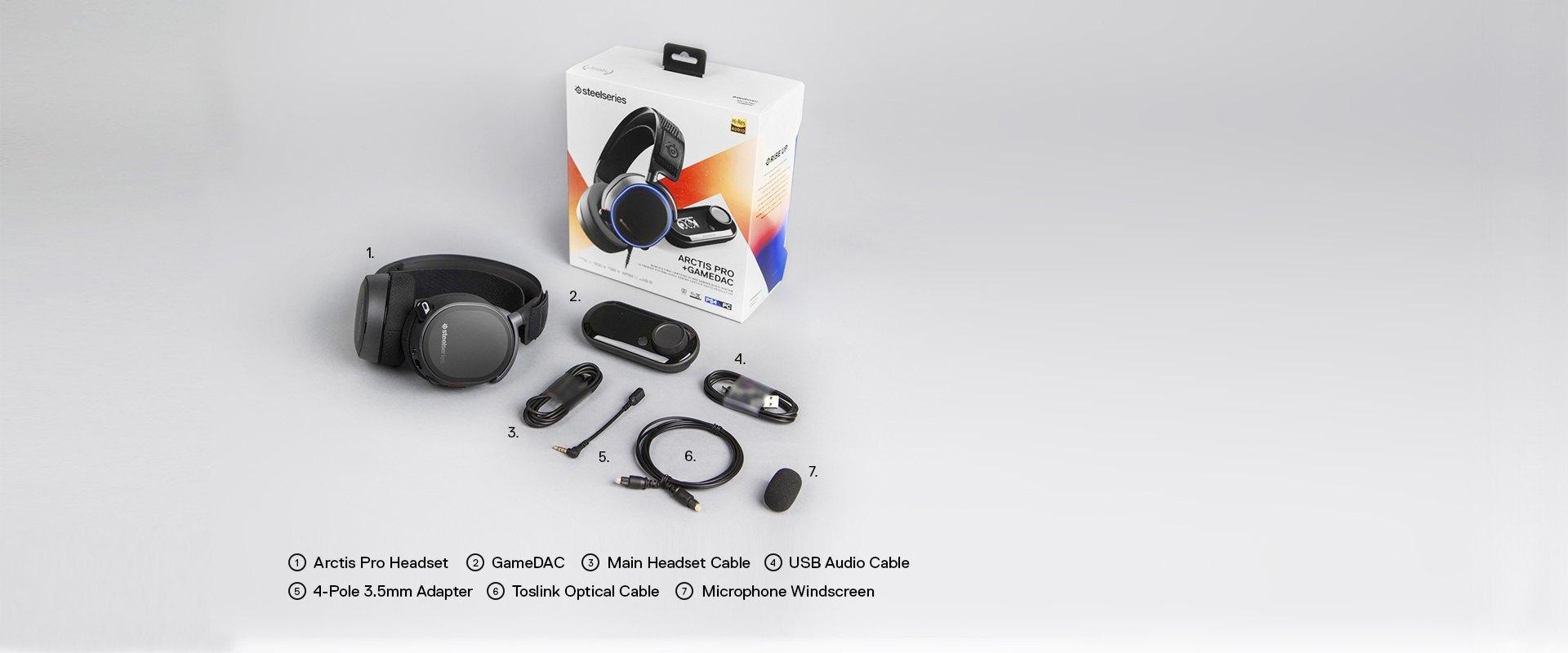 Arctis Pro 包裝以及標明的包裝盒內物品