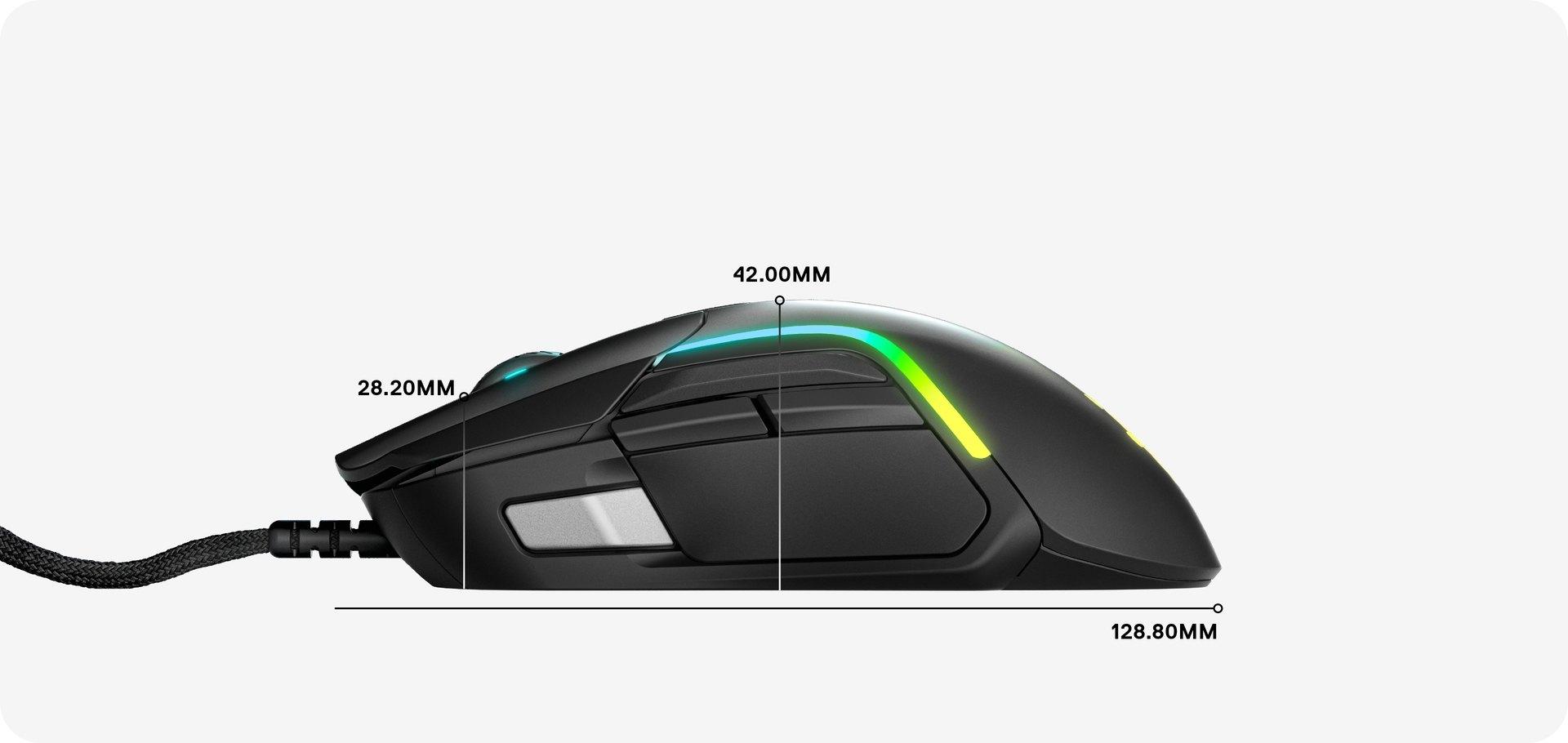 Rival 5 滑鼠側面展示圖,以顯示側面尺寸