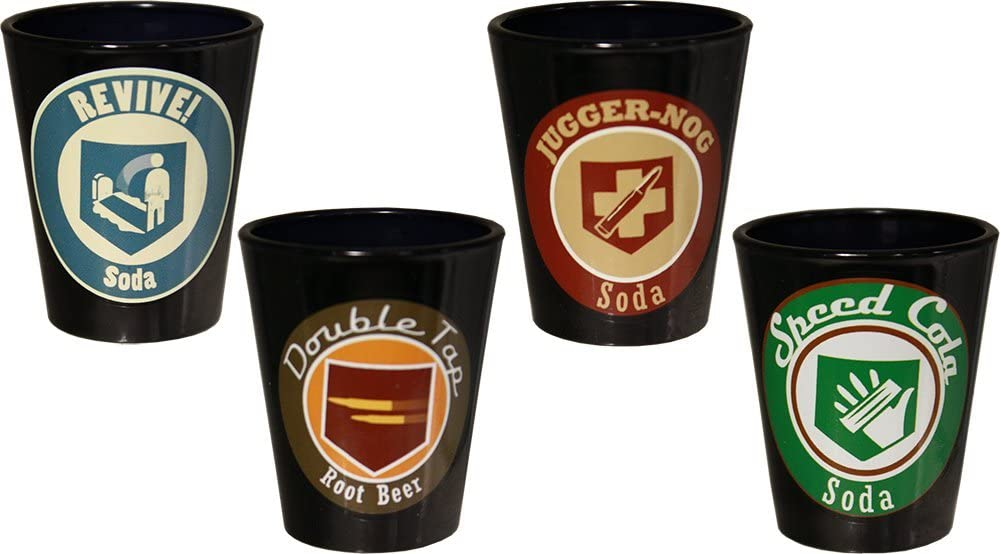 A look at the four types of shot glasses, which resemble the Perks you gt in Call of Duty.