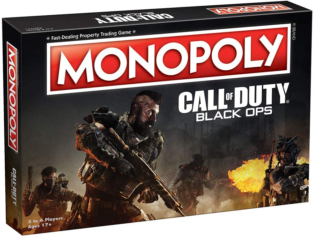 A shot of the Call of Duty: Black Ops Monopoly box, which looks like it's pretty action-packed.