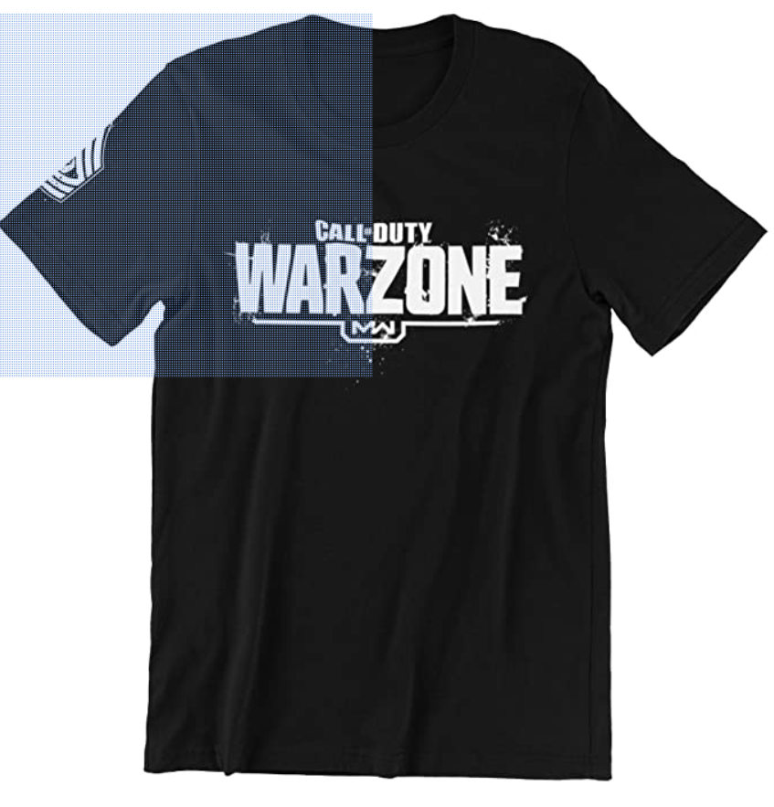 A look at the front of the black shirt, emblazoned with the Warzone logo in bright white font.