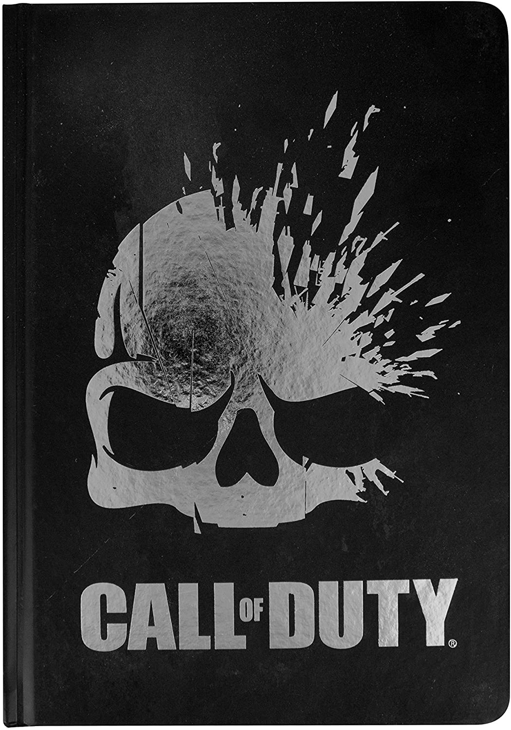 A black notebook emblazoned with the Call of Duty logo across the front cover.
