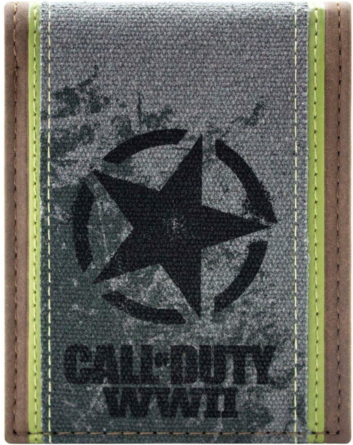 A close-up of the beige, grey, and gold wallet with the Call of Duty: WWII logo on the front.
