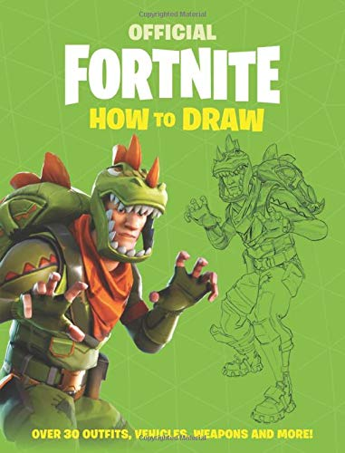 The cover of the official Fortnite Official How to Draw Book, featuring a popular character snarling at the reader.
