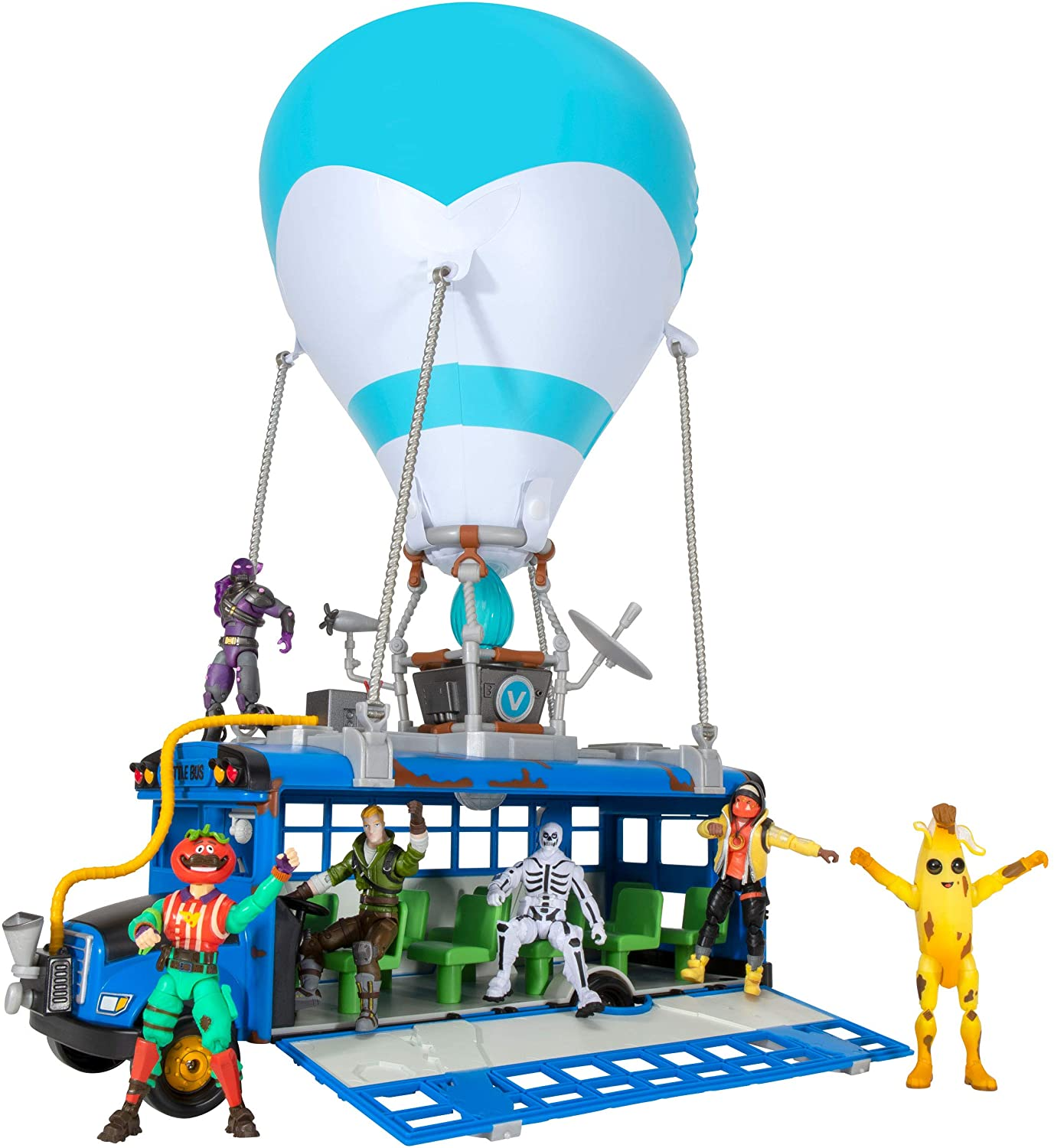 The Fortnite Battle Bus decked out with players, ready to drop them into the map for some good, old-fashioned battle royale gaming.