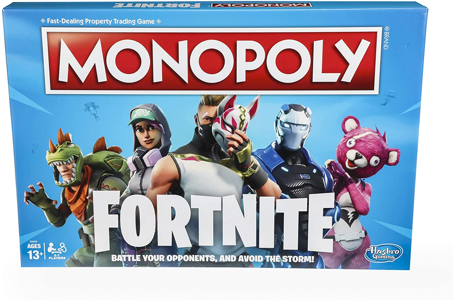 The Fortnite Monopoly box art, emblazoned with the various characters in the game.