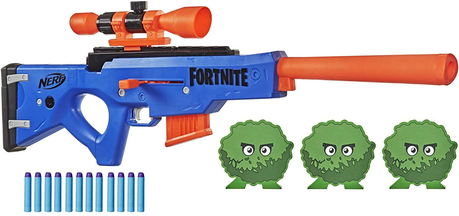"The Fortnite BASR-R Bolt Action Blaster laid out with special targets and ""ammunition""."