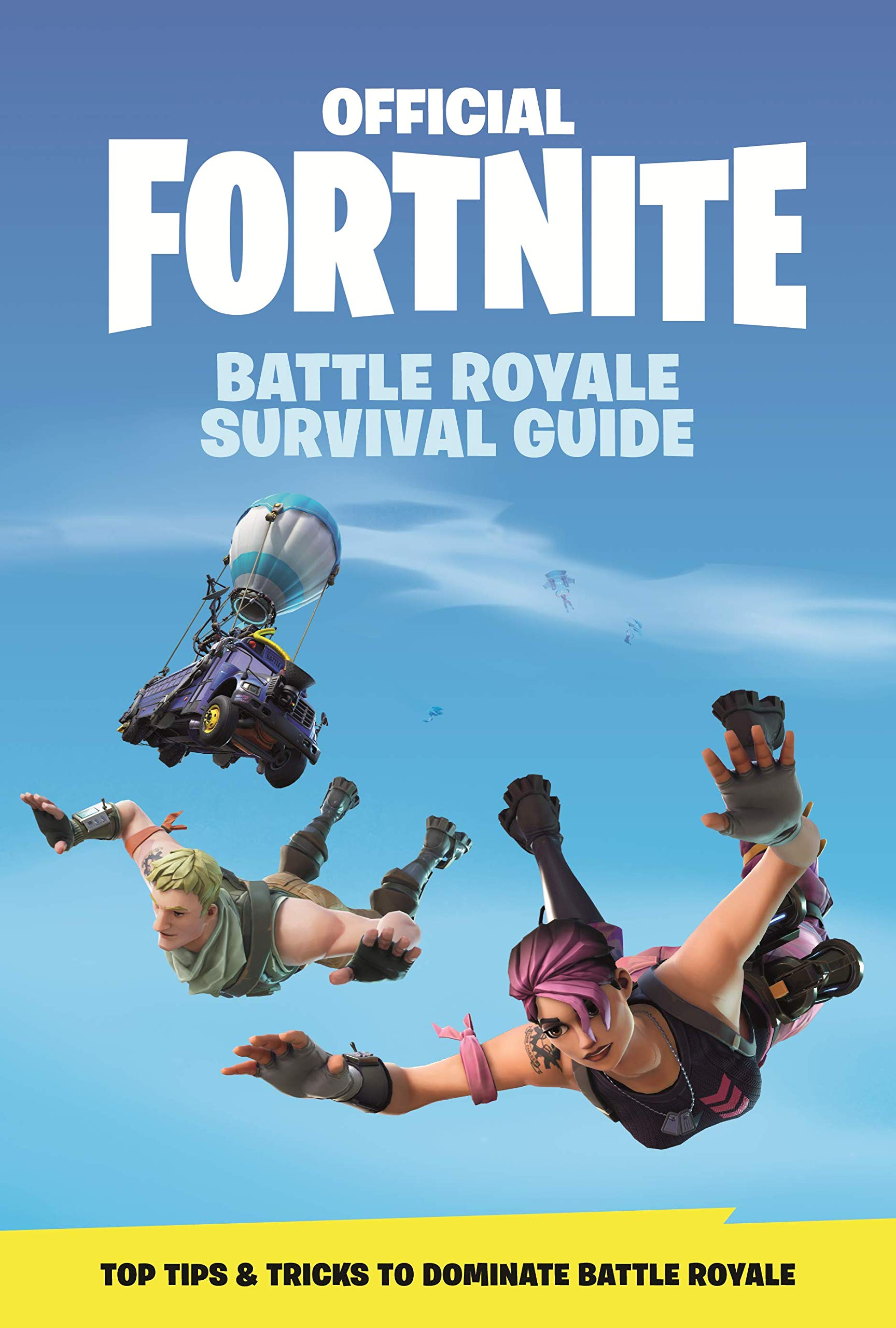 The cover for the Fortnite: Battle Royale Survival Guide, which features free-falling characters.