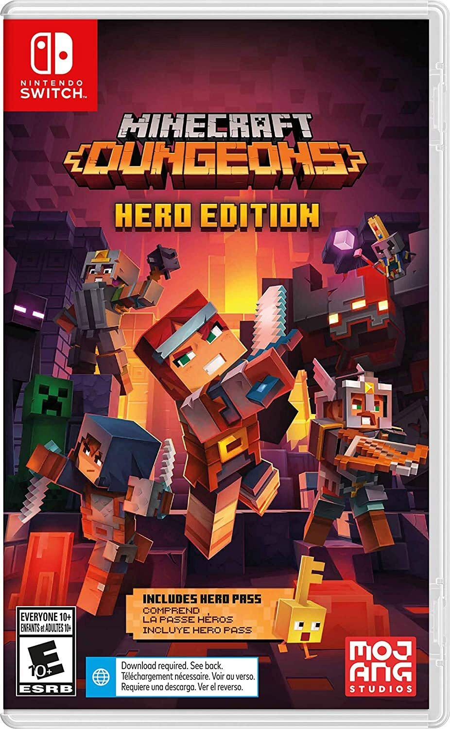Nintendo Switch box art for Minecraft Dungeons: Hero Edition, which features a party defeating mobs.