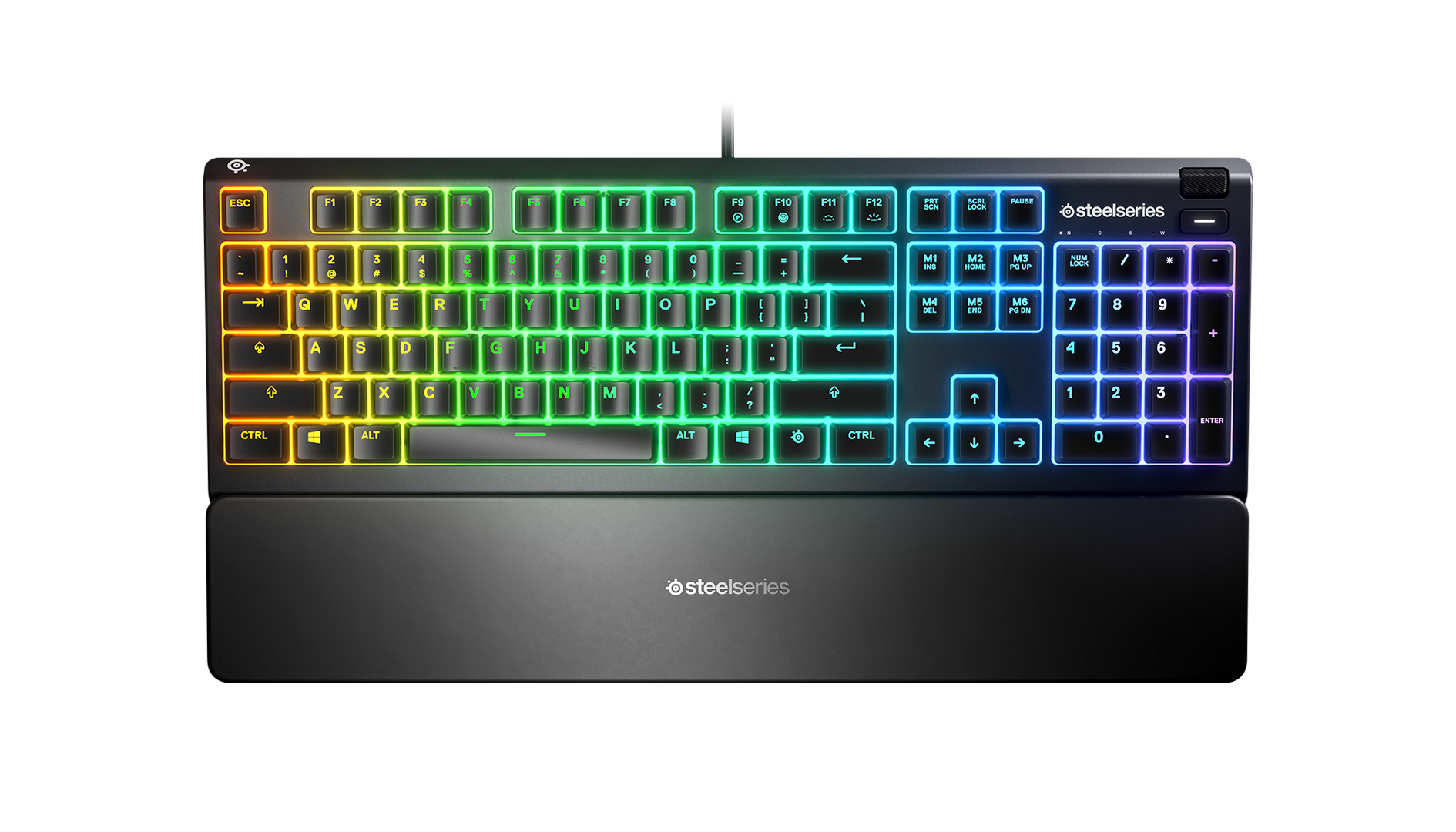 The Apex 3 keyboard lit up brilliantly with all its RGB goodness, which looks pretty awesome if we say so ourselves.