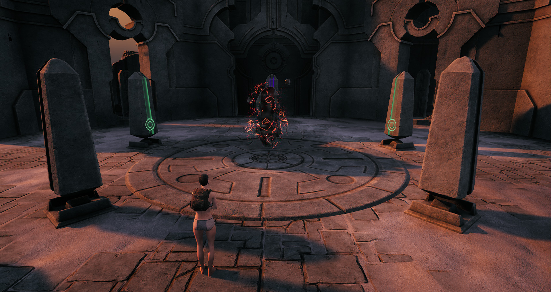 Remnant character in minimal clothing standing in front of 4 obelisks and a fiery rock