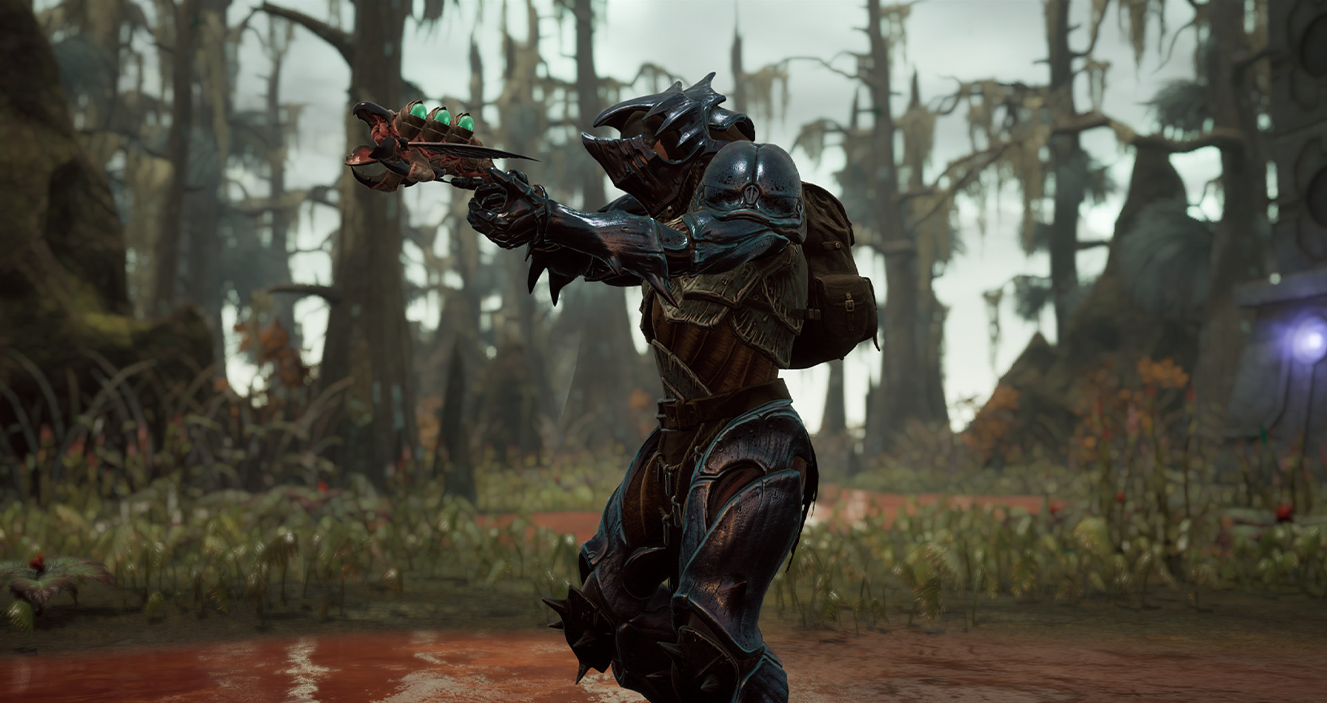 Remnant character aiming a pistol type weapon in a swamp