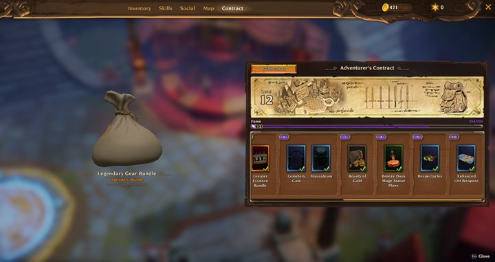 "Adventurer's Contract selector in Torchlight III next to a ""Legendary Gear Bundle"""