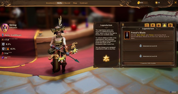 "Legendarium skill option ""Frenzi's Blade"" in Torchlight III"