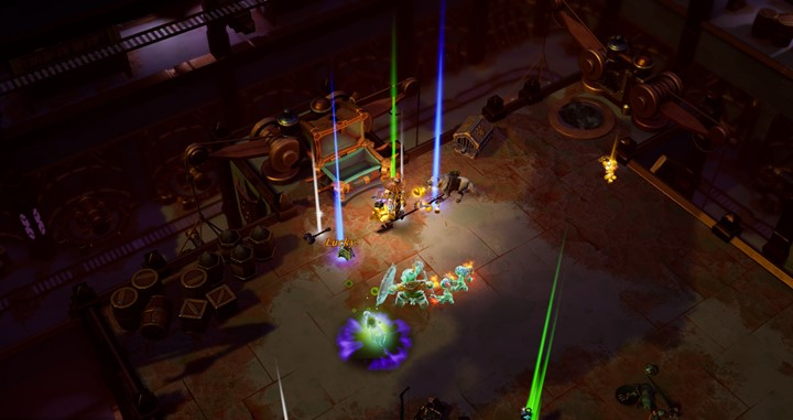 Different rarities of loot laying on the ground in Torchlight III