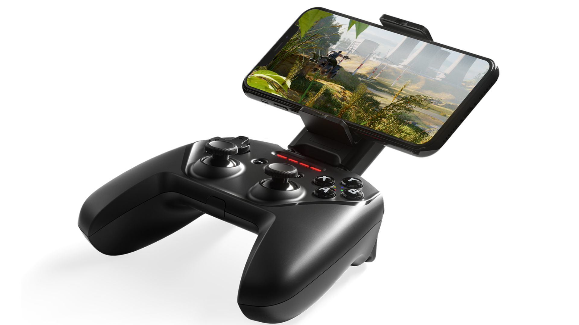 The SteelSeries Nimbus+ controller in black with an iPhone mounted to it.