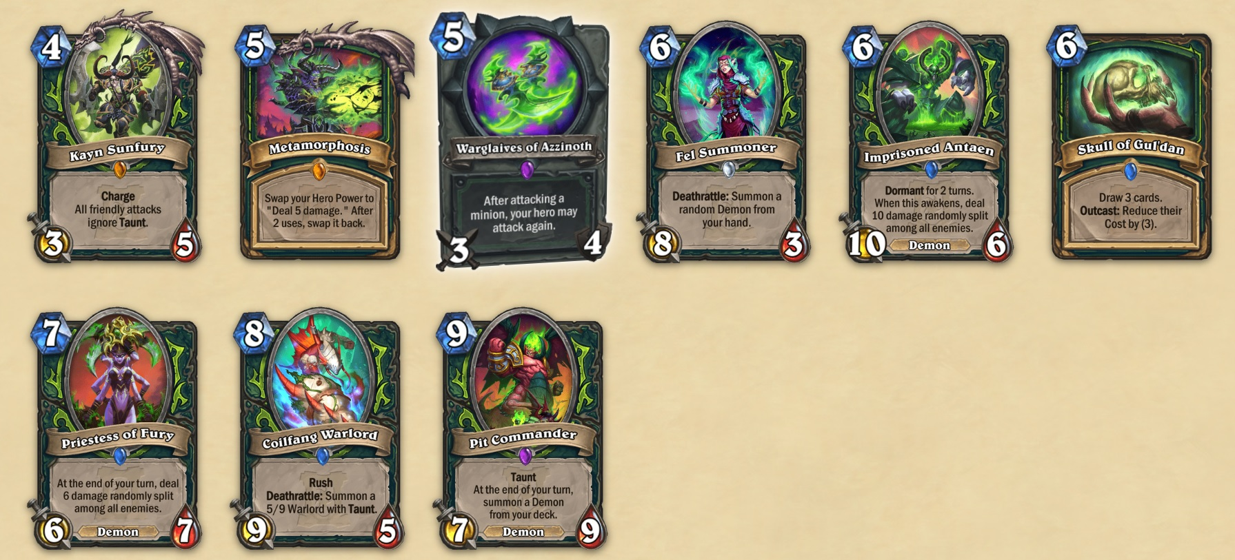 A line of Hearthstone digital cards in Demon Hunter class