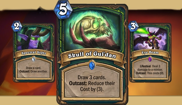 3 Hearthstone digital cards. In the center is Skull of Gul'dan, cost 5, description: Draw 3 cards, Outcast: reduce their cost by 3. On the left is Spectral Sight cost 2. Description: Draw a card. Outcast Draw another. On the right is Eye Beam, cost 5. Description reads Lifesteal. Deal 3 damage to a minion. Outcast - this costs 0.