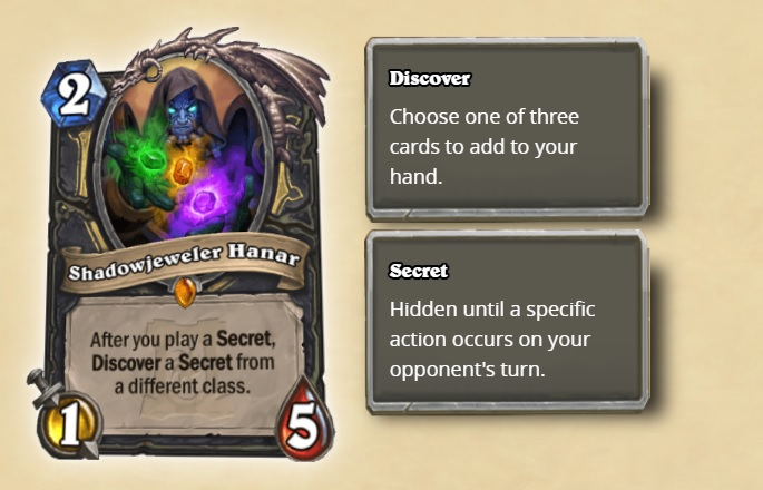 Hearthstone digital card Shadowjeweler Hanar. Cost 2, attack 1, health 5. Description: After you play a secret, Discover a secret from a different class. Two description boxes are displayed to the right of the card. Box 1 reads Discover: Choose one of three cards to add to your hand. Box 2 reads Secret: Hidden until a specific action occurs in your opponent's turn