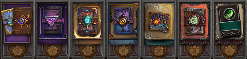 A line of various virtual deck packs for the game Hearthstone