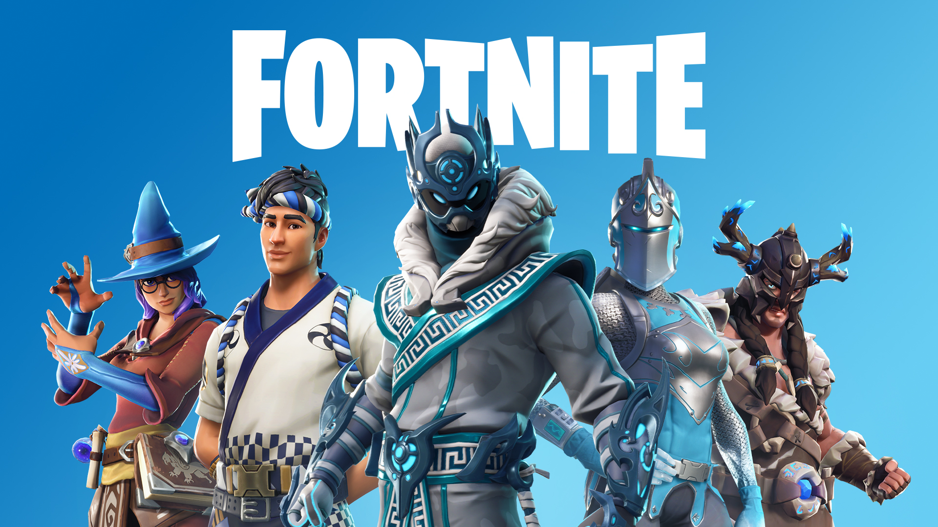 5 Fortnite player characters on blue background