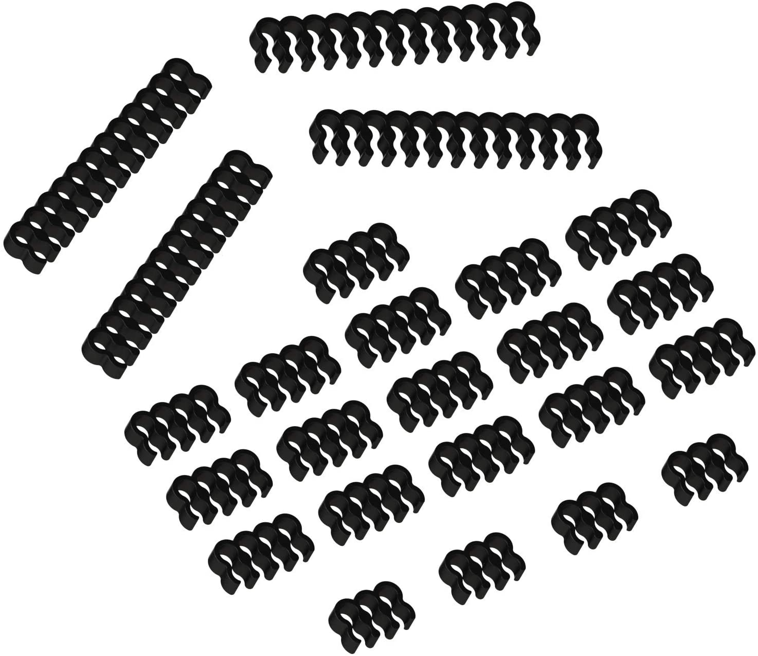 A series of black cable combs.