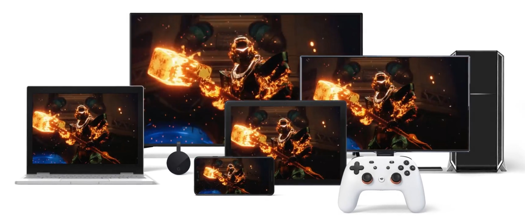 "Array of electronic devices and a Google Stadia controller displaying a screenshot of the video game ""Destiny 2"""