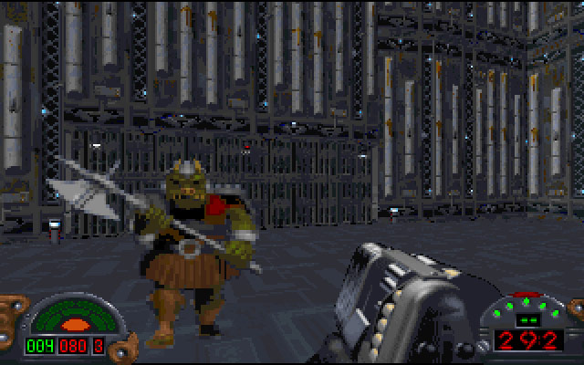 Kyle Katarn faces off against an enemy.