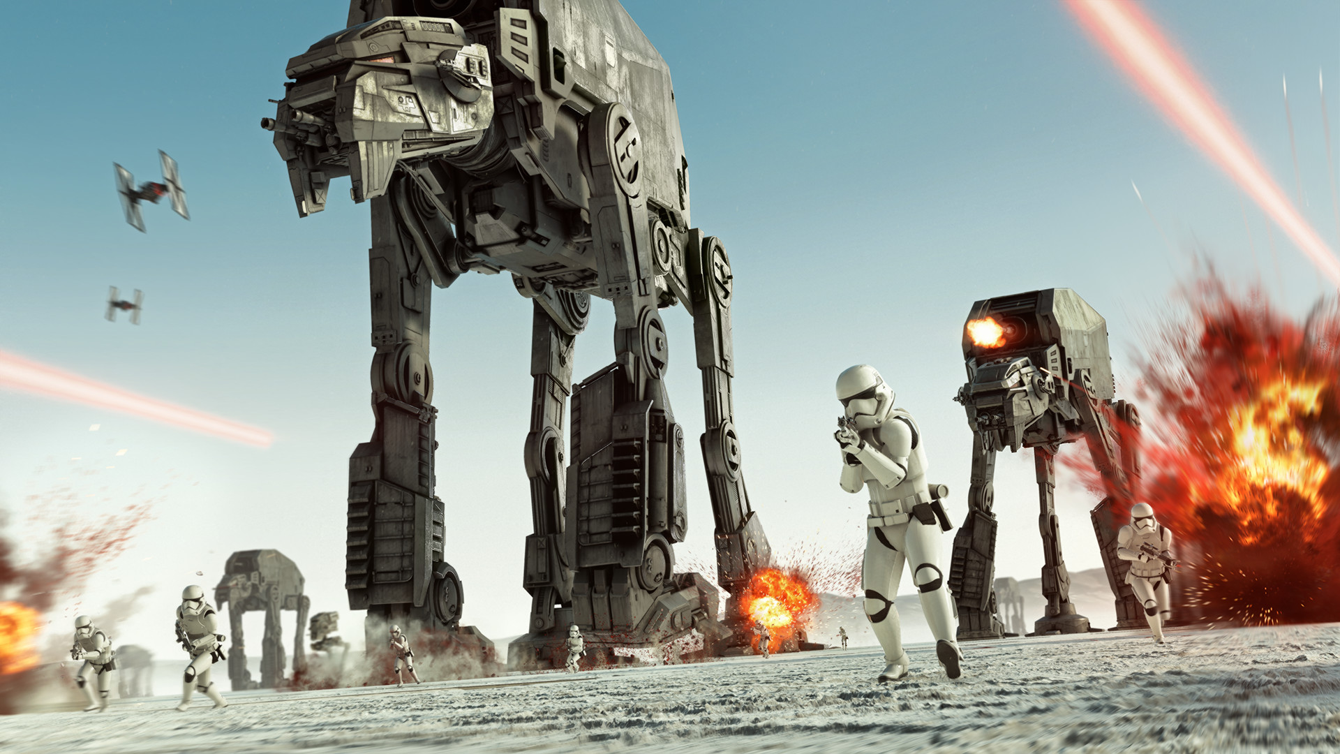 Stormtroopers and AT-ATs move across a crowded battlefield.