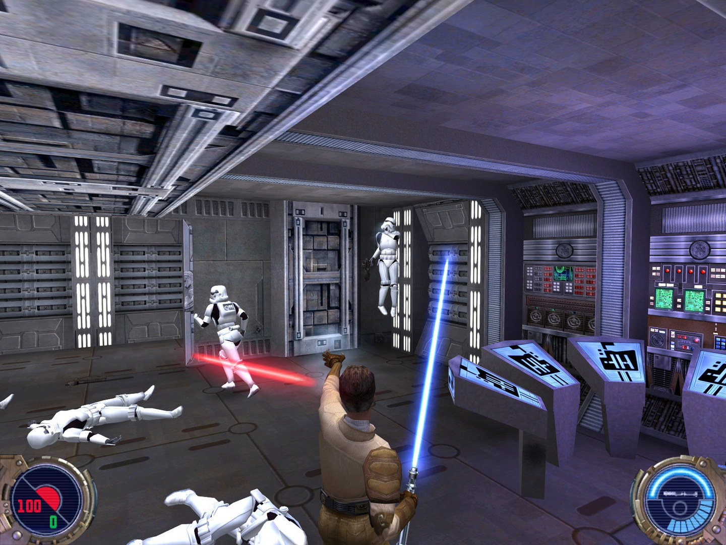 Kyle Katarn holds a stormtrooper up with his Force choke powers.