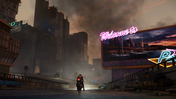 A man sits on a motorcycle outside a dark, cyberpunk city