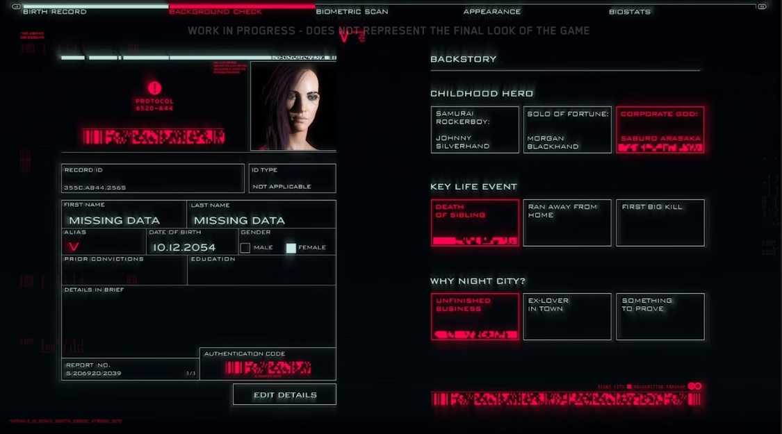 Cyberpunk 2077 character creation screen with customization options