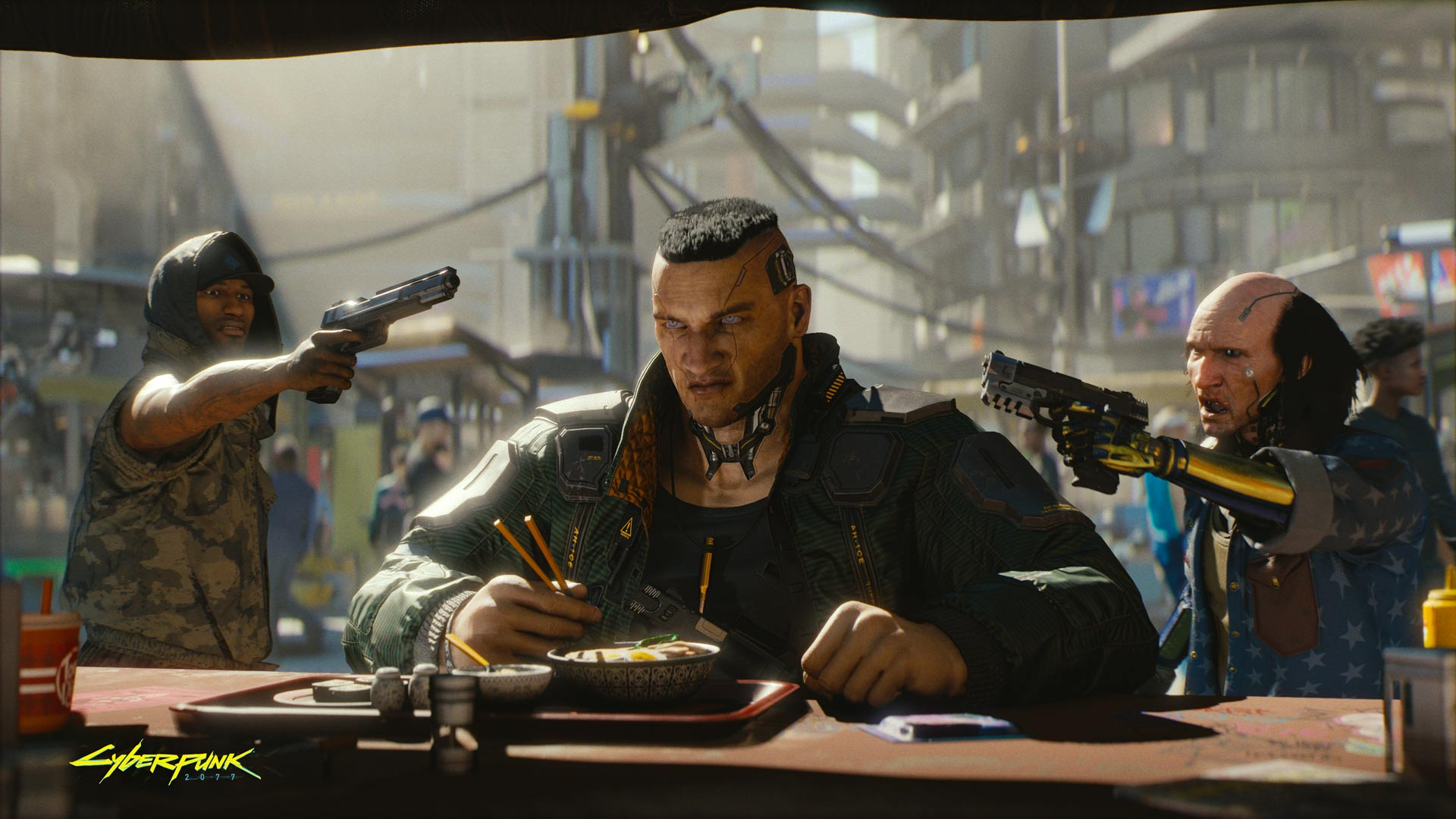 Two men point guns at a cybernetically enhanced man sitting at a noodle bar