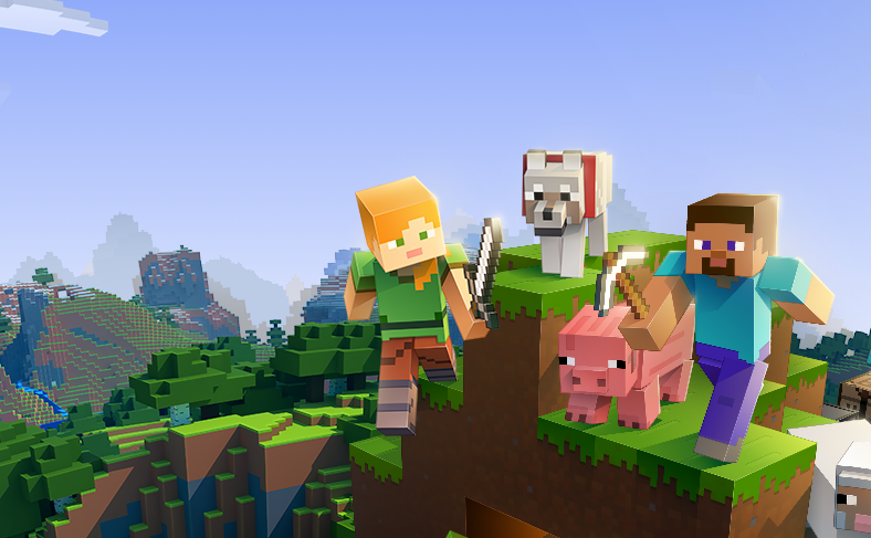 Minecraft characters, one male, one female, scale a mountain with a dog and a pig